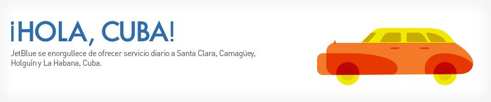 Como si nuestro servicio sin escalas a Santa Clara, Camagüey y Holguín no fuese lo suficientemente emocionante, JetBlue se enorgullece de añadir un servicio diario a la capital de Cuba desde Fort Lauderdale, Orlando y la Ciudad de Nueva York (JFK).