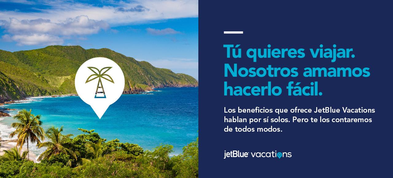 Tú quieres viajar. Nosotros amamos hacerlo fácil. Los beneficios de JetBlue Vacations hablan por sí mismos. Pero te los contaremos de todos modos. Vacaciones Jetblue
