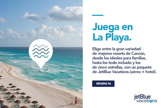 Toma tus fotos desde los mejores resorts bajo el sol; desde resorts aptos para toda la familia hasta los todo incluido y los de cinco estrellas con un paquete de JetBlue Vacations (aéreo+ hotel) a Cancún.