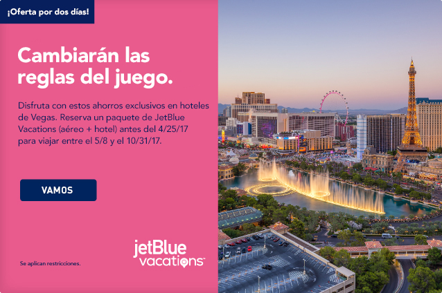This is a game changer. Deal yourself in with exclusive hotel savings in Vegas. Just book a JetBlue Vacations package air and hotel by 4/25/17 for travel 5/8 and 10/31/17. Let's Go.