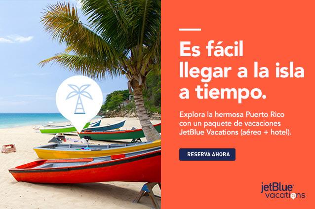 Es fácil llegar a la isla a tiempo. Explora la hermosa Puerto Rico con paquetes de JetBlue Vacations, de aéreo y hotel. Reservar ahora.