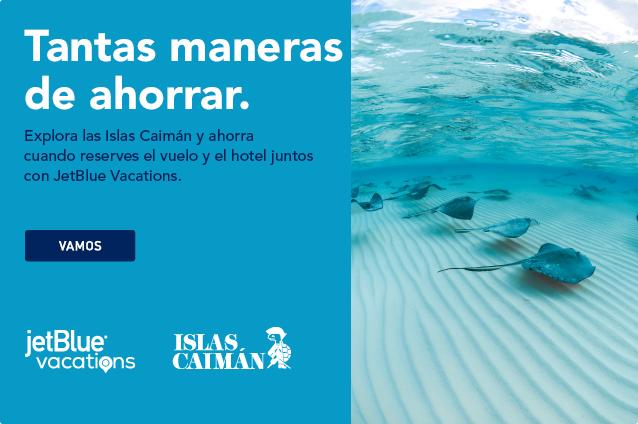 Mucho para ahorrar. Explora las Islas Caimán y ahorra cuando compres aéreo+hotel con JetBlue Vacations. Vamos.