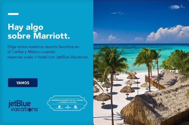 Hay algo sobre el Marriott. Elige entre tus resorts favoritos en el Caribe y México si reservas aéreo y hotel con JetBlue Vacations. Vamos.
