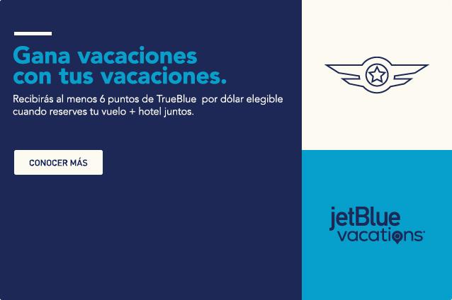 Gana vacaciones con tus vacaciones. Recibirás al menos 6 puntos de TrueBlue por dólar elegible cuando reserves tus vuelos y hotel juntos. Conocer más.