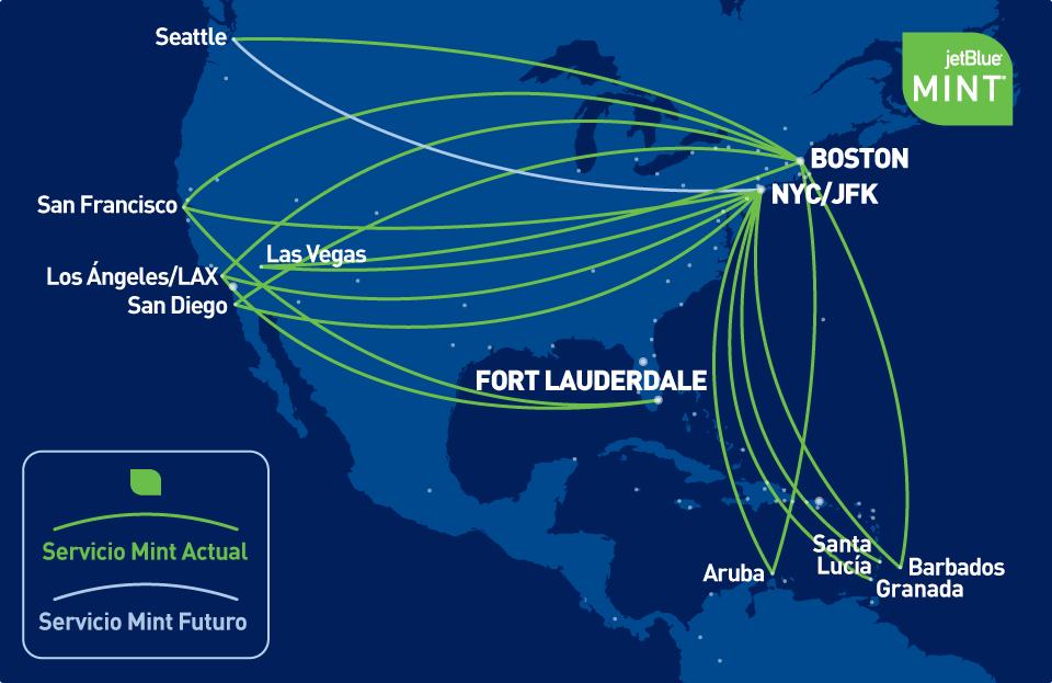 Mapa que muestra el servicio actual y futuro de Mint
