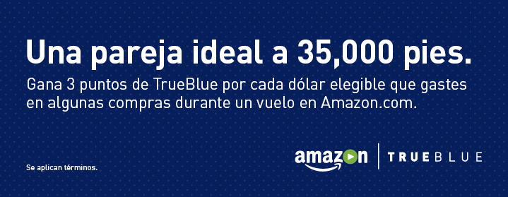 Make a point (or 3) to shop Amazon. Now, Get your Amazon fix and 3 TrueBlue points for every eligible dollar spent! Just shop Amazon.com at home (or at the office - we won't tell) with the unique JetBlue Link, or inflight with our free Fly-fi. Se aplican términos.